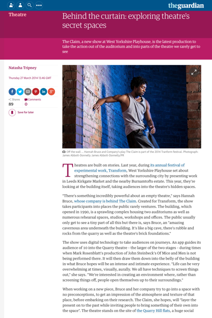 Screen grab of Natasha Tripney's article for the Guardian 'Behind the curtain'