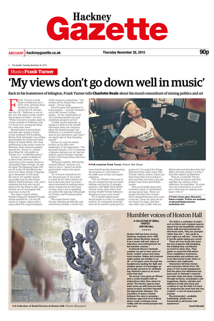 Composite scan of David Winskill's review of A Collection of Small Choices for the Hackney Gazette