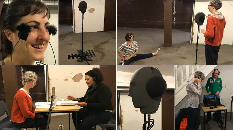 Hannah Bruce and Company - 'Disrupting the Everyday'. 6 image of recording the work in the basement of the old Soho Poly Theatre. [clockwise from top left] Sophie Arstall wearing wireless microphones; 'Beryl' the binaural microphone; Sophie and Hannah Bruce considering the effectiveness of early takes; Hannah and Rommi Smith recording; 'Beryl' modelling her ear defenders; Hannah Bruce and Jonathan Eato listening back to recordings made on location.